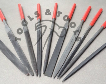 Quality Steel Needle File Set 10 Piece Finishing Tool With Plastic Handles