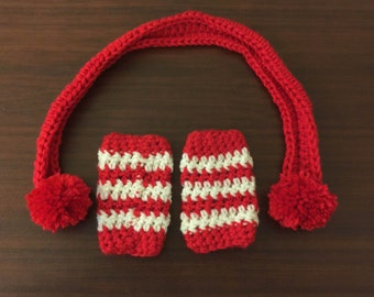 Baby Leg Warmers and Scarf, Crochet Baby Leg Warmers and Scarf, White and Red Leg Warmers - Color Choices, Red Scarf - Crochet Scarf