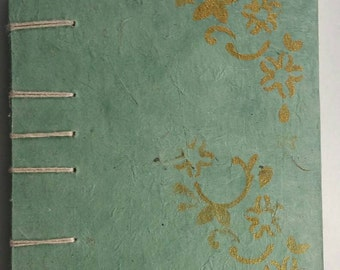 Coptic bound journal or notebook handmade paper, gold paint, sketchbook