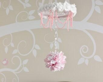 Pink baby girl mobile, crystal nursery chandelier, shabby chic pearl pom pom mobile