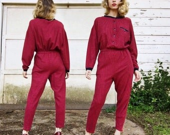 MOVING SALE Vintage 80s Styles To Go Dark Red + Black Pinstriped Cotton Long Sleeve Tapered Leg Elastic Stretch Waist Pantsuit Jumpsuit S/M