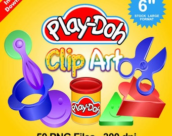 PLAY DOH - CLIPART - 50 png files 300 dpi - For Cardmaking, Party Decorations, Scrapbooking and More - Instant Download - Play-Doh Party