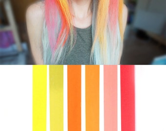 6 Best Temporary JUICY Peach Ombre hair Dye for dark and light hair - Set of 6 | DIY Peach Ombre hair Chalk for easy & simple hair coloring