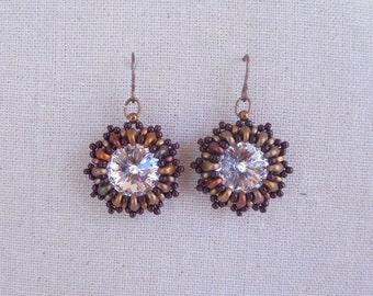 Swarovski crystal earrings,handmade earring,beading earrings,ear,gift ideas