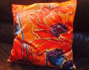 """Red Poppy Throw Pillow Cover made from my original artwork called """"Blowing Poppies"""""""