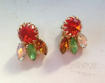 Signed MMA Red, Green, Topaz and Clear AB Rhinestone Earrings 0499