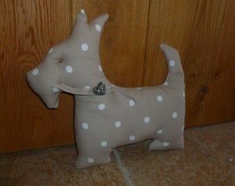 Polka dot scotty dog cushion