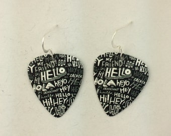 Hello guitar pick earrings