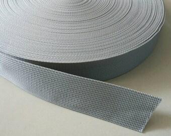5 Yards, 1.5 inch (3.8 cm.), Polypropylene Webbing, Gray, Key Fobs, Bag Straps, Purses Straps, Belts, Tote Bag Handle