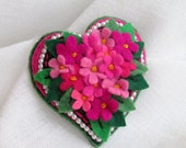 Heartblossom.  Pink Felt brooch. Valentine's Gift. Hand-made.Textile Art Jewelry.Flover brooch. Gift for her. Gift for mom.