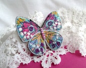 Textile Art Brooch Butterfly. Pink Aquamarine Butterfly. Textile Felt Pin. Gift for Mom. Gift for her. Embroidered butterfly Brooch.