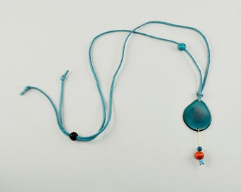Turquoise tagua necklace, long cord collar, simple jewelry, adjustable pendant necklace, women gift under 15, organic jewelry, gift for teen