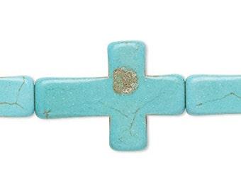 Turquoise Cross, Resin, 32x21mm, 2 each, D848