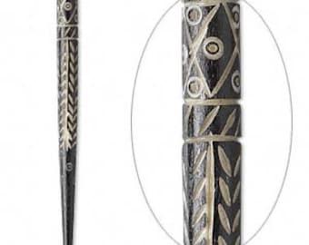 "Bone Hair Stick, black hair stick, Boho hair stick, 4.5"", sold per pair, D390"