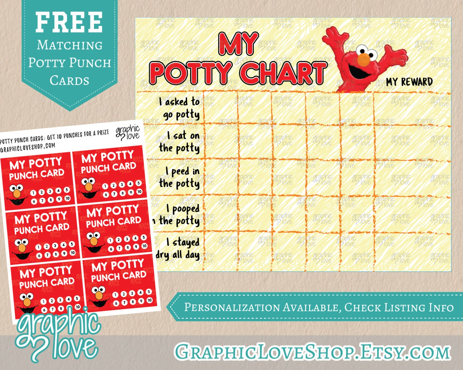 Printable Elmo Potty Training Chart, FREE Punch Cards | High ...