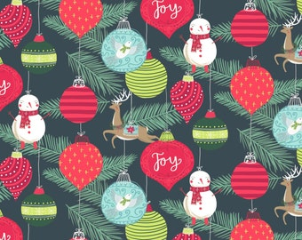 25 Days of Christmas Fabric Collection - Christmas Ornaments on Grey Holiday Fabric by Anne Bollman for Clothworks -Listed by the Half Yard