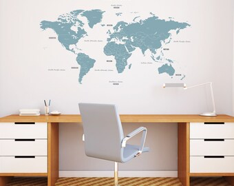 Decowall,DMT-1509B,The World Wall Stickers_Blue