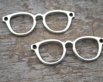 10pcs--glasses Charms, Antique Tibetan Silver glasses charm pendants connctors 55x19mm D1105
