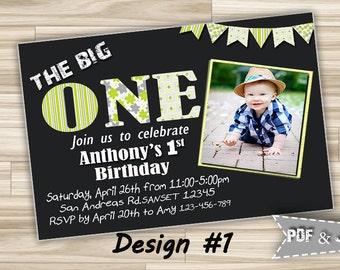 Printable 1st Birthday Party invitation Boy, First Birthday Party Photo Invitation , Boy 1st birthday invitation digital file with photo