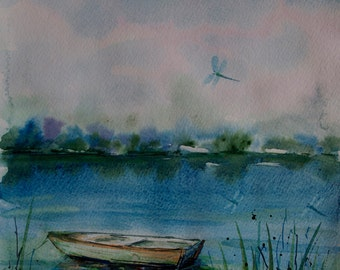 Landscape painting Watercolor boat painting flying dragonflies painting Nature art Original watercolor painting Original art river landscape