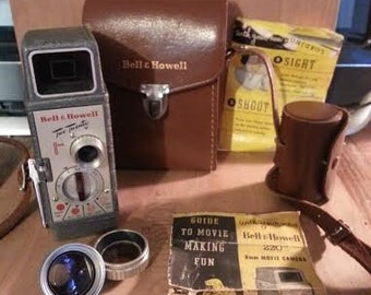 Vintage Bell&Howell Two Twenty 8MM Camera w/ Lenses and Case