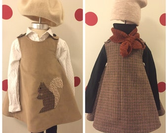 NUTS ABOUT FALL dress- Retro Reversible toddler pinafore- 12-24 months