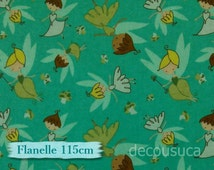 Flannel, Petites fées, seal, fat quarter at mètre, many yards will be cut as one continuous piece, 100% Cotton