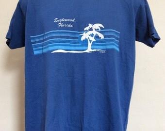 Vtg 70s 80s Englewood Florida Vacation Souvenir T-Shirt Blue L Sportswear 50/50