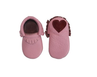 Pink heart moccasins (various colors)