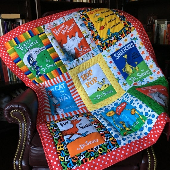 Book Cover Handmade Quilts : Custom made from multiple dr seuss book covers fabric quilt