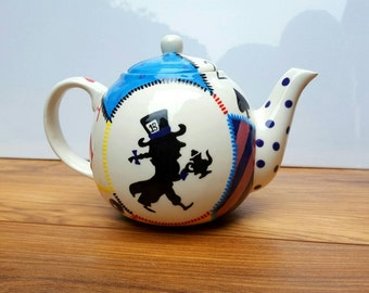 English Teapot Alice In Wonderland Inspired Ceramic 4 Cup Pour Over Hand Painted Teapot Tea Lover Gift