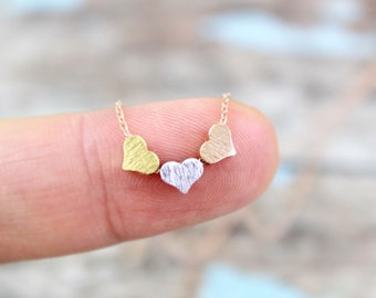 Tiny 3 Hearts with Rose Gold Chain Necklace, Triple Hearts Charm Necklace, Three Wishes Necklace,Bridesmaid Gift, Dainty Necklace-4057