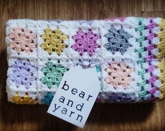 Small Baby Blanket - Multi-coloured Granny Squares