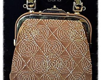 Vintage Inge Christopher  Camel Beaded Bag Champagne Touches &Gold Hardware #DCIC1