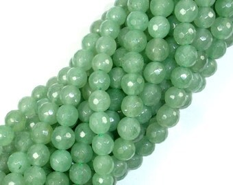 Green Aventurine, 6mm Faceted Round Beads, 15.5 Inch, Full strand, Approx 63 beads, Hole 1 mm, A quality (249025002)