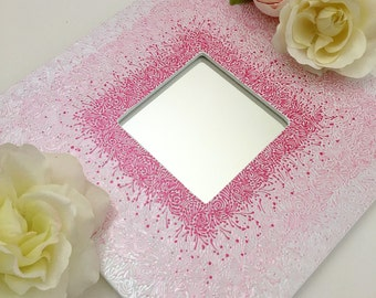 10x10 Hand Painted Mirror Pink Ombre