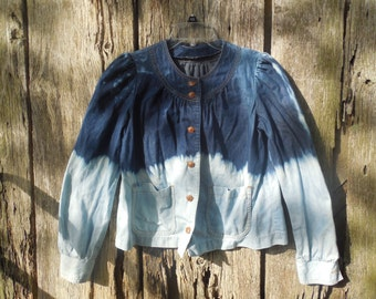 Womens Ombre bleached Levis Strauss & Co Jacket Lightweight Denim Shirt Distressed Small Thin Light perfect for patches