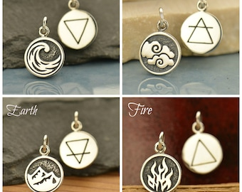Sterling Silver, 4 Elements Charm, Water Charm, Fire Charm, Air Charm, Earth Charm, Nature Charm, Silver Earth Charm