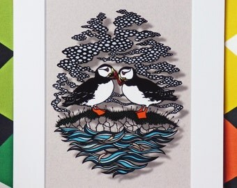 Puffins Mounted Papercut Giclee Art Print