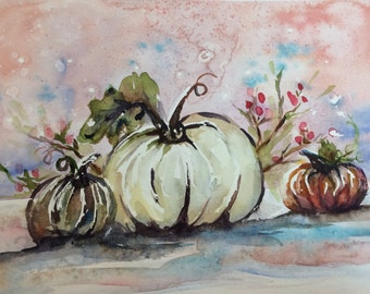 """Happy Fall Y'all #2- original watercolor 11x15"""" on 400 series paper"""