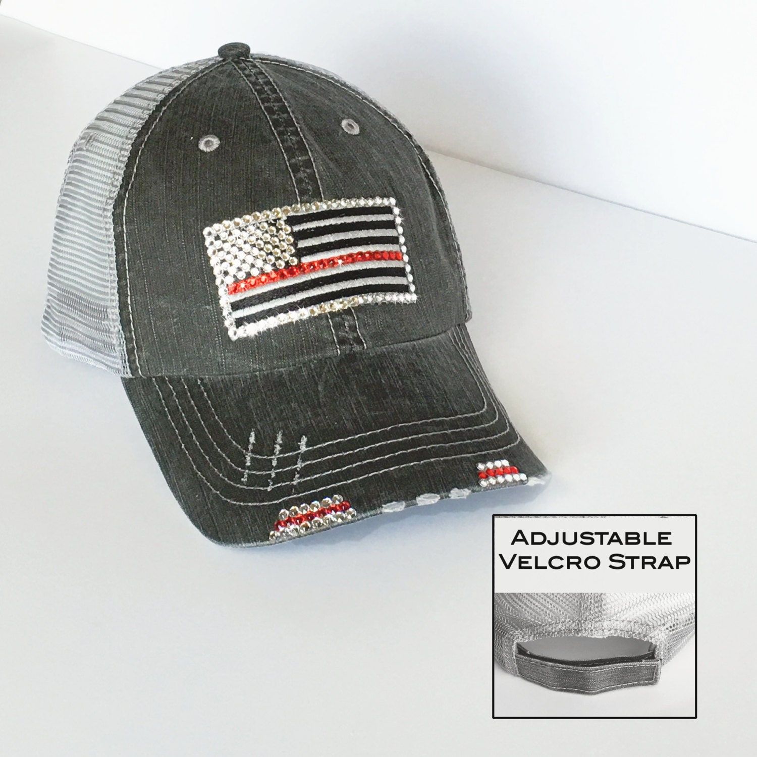 thin red line firefighter wife gift distressed trucker cap