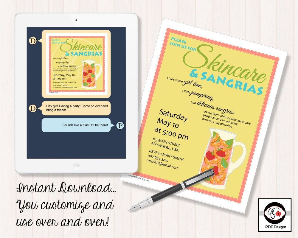 Skincare Sangrias Skincare Party Invitation Skincare – Scentsy Party Invitations