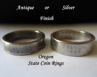 "Oregon State Quarter Handmade ""SEALED"" Coin Ring ""FREE SHIPPING"""