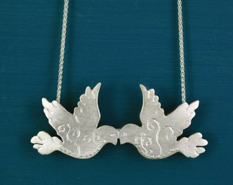 Sterling silver love birds pendant necklace