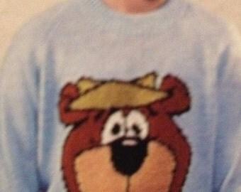 Childrens & Adult YOGI BEAR Jumper Knitting Pattern