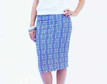 SUMMER Pencil Skirt / Coastal Midi Pencil Skirt / Summer Fashion