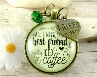 BFF Necklace All I Need is My Best Friend and Iced Coffee Friendship Jewelry Vintage Style Glass Pendant Best Friend Heart Charm Glass Bead