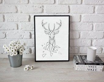 Table drawing deer origami