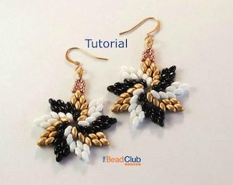SuperDuo Bead Patterns - Beaded Earring Patterns - Beading Tutorials and Patterns - Beadweaving Tutorial - Pinwheel Earrings