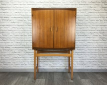 Retro Rare Matching Pair Teak Danish Sideboard Cabinets with Chest of Drawers by TIBERGAARD - Vintage Mid Century Furniture